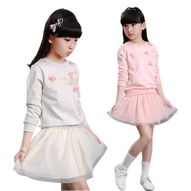 V-TREE New Girls Clothing Sets Spring Autumn T Shirt + Skirt Suit Sets For Girl Teenage School Girls Clothes Kids Brand Clothes brand new spring autumn girls clothing t shirt long sleeves red black children cute long t shirt school shirt top tees gh048