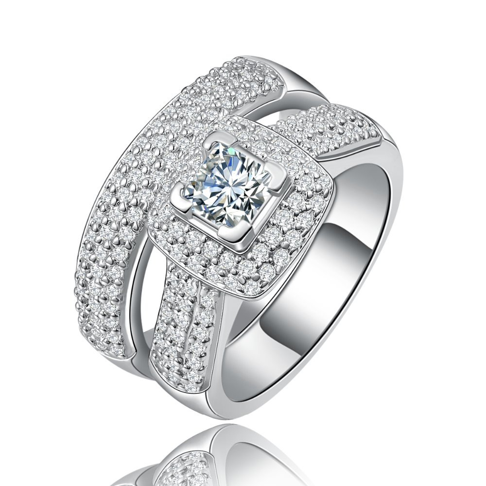 india jewelry cubic zirconia wedding sets white gold promotion cubic zirconia wedding sets Luxury Wedding Ring Set for Women White Gold color cubic zirconia Jewelry bague engagement bijoux for lady Accessories MYR