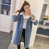 Women Spring Autumn Winter Long Coat Lambswool Denim Cotton Jacket Fashion Style Long Sleeves Warm Jean Jacket Plus Size 5XL
