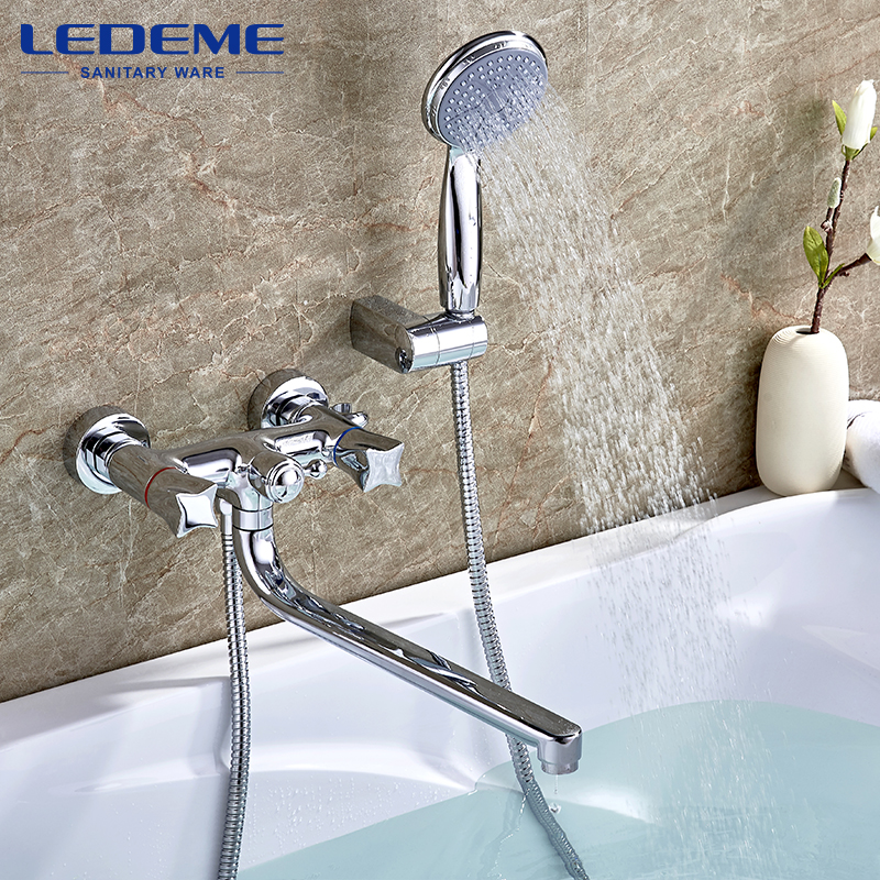 LEDEME Bathroom Faucet NEW Thermostatic Faucet Chrome Finish Mixer Tap Handheld Shower Wall Mounted Shower Faucet Set L2687 new chrome finish wall mounted bathroom shower faucet dual handle bathtub mixer tap with ceramic handheld shower head wtf931