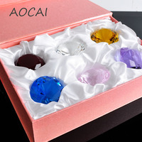 6pcs/lot 6 colors gift box packing 40mm crystal K9 best quality wedding Diamond family Shop counter Decorations small gift