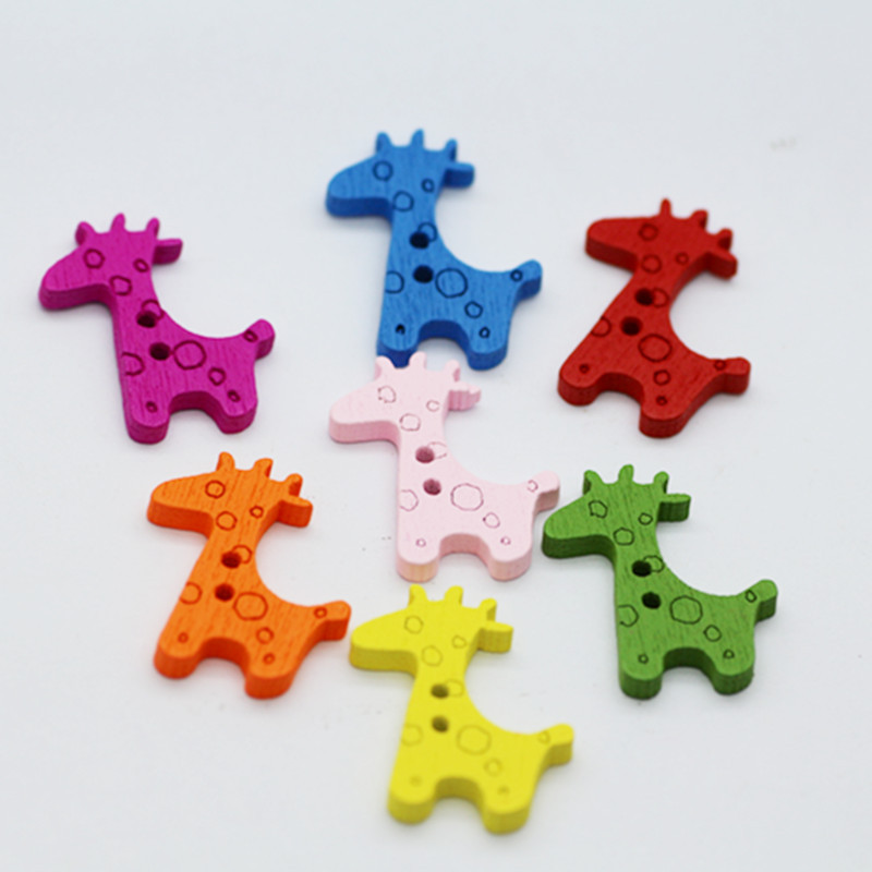 100pcs/lot Colorful Giraffe Flatback Buttons, Kids Wood Button Craft, Scrapbooking Wood Craft MS 006