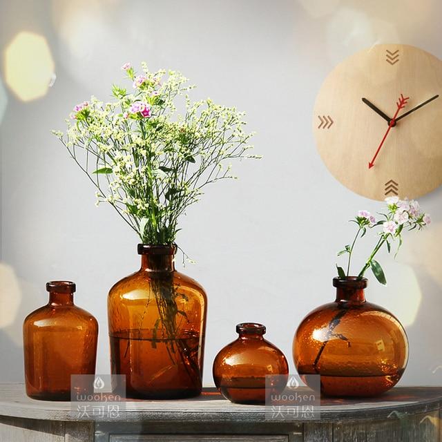 European Color Glass Vase Transparent Crafts Home Wedding Gift