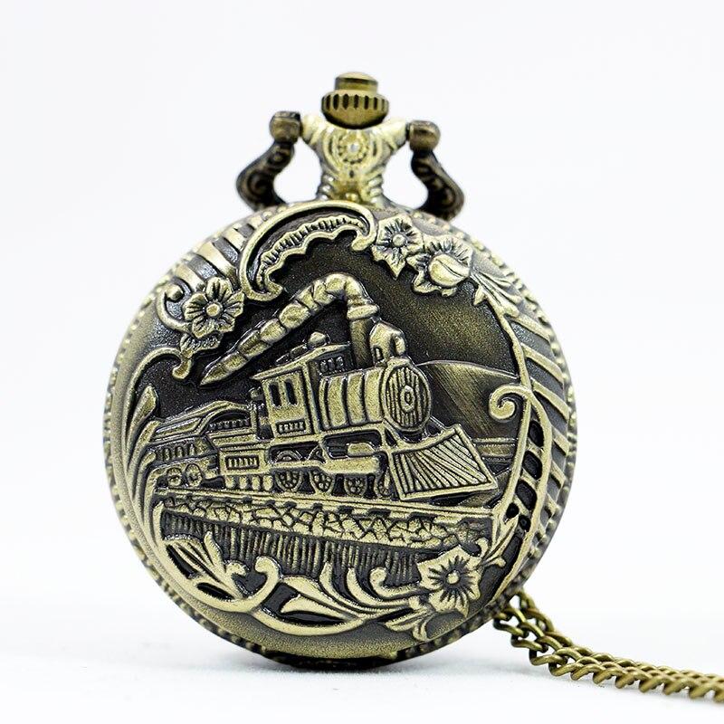 PB081 Vintage Bronze Train Front Locomotive Engine Necklace Quartz Pocket Watch Chain Railway Watch