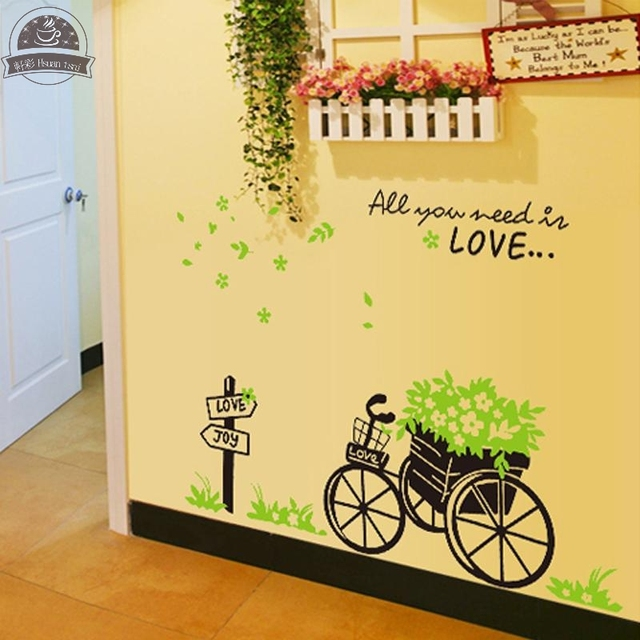 Green Car Flowers DIY Vinyl Wall Stickers Home Decor Art Decals 3D ...