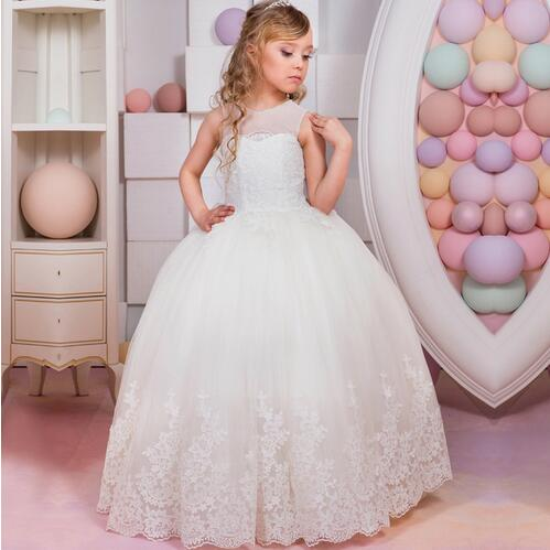 White Puffy First Communion Gowns Ball Gown Lace O-neck Appliques Flower Girl Dresses Vestidos Longo 2017 new flower girl dresses lace up appliques o neck short sleeves lace up first communion birthday dresses vestidos longo hot