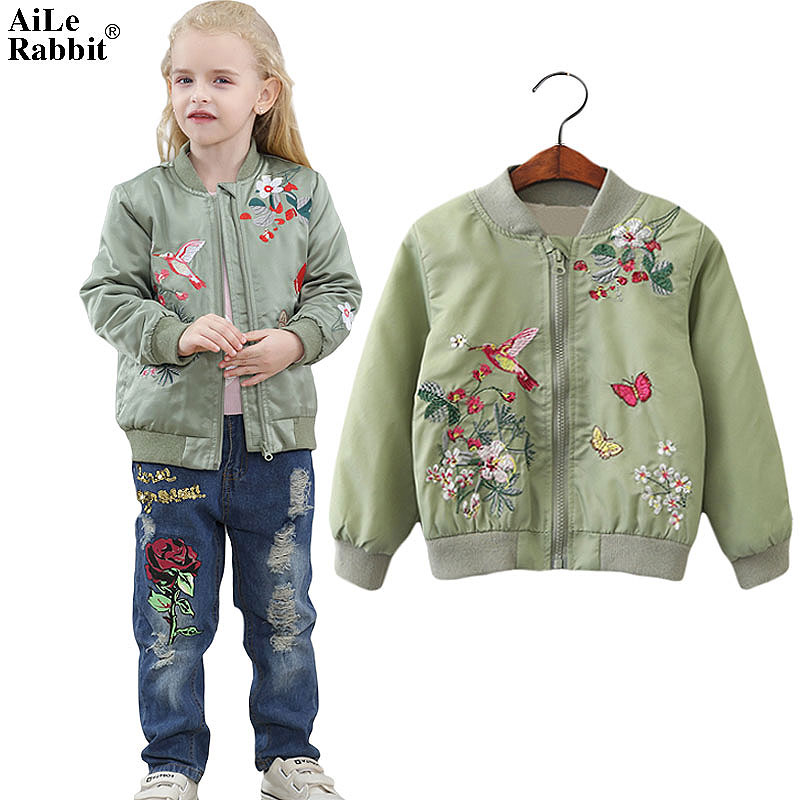 19315f95c AiLe Rabbit Girls Winter Jacket New Fashion Embroidered Coat Long ...
