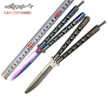 Butterfly In Knife Titanium Coated Stainless Steel Folding Knife Butterfly Not Sharp Trainer Training Practice Balisong Knife