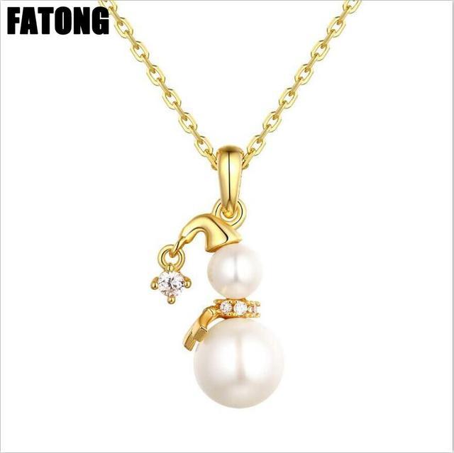 <b>2018 hot new</b> 925 silver <b>Christmas gift</b> snowman necklace female ...