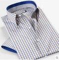 Nueva llegada 2015 no planchar Blusas del verano camisas a cuadros de manga corta ocasional de la camiseta 100% algodón Slim Fit
