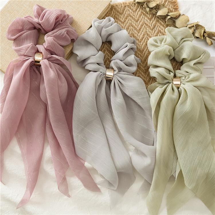 New Solid Color Women Scrunchie Hair Scarf Headwrap Long Ribbon DIY Hair Ties Elastic Hair Rubber Band Accessories Hair Ornament