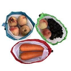 5 teile/paket Mehrweg Mesh Taschen Seil Gemüse Spielzeug Lagerung Beutel Obst & Lebensmittel Taschen Mesh Lagerung Tasche Einkaufstasche