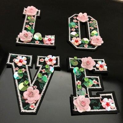 Letras amor parches hechos a mano con cuentas de diamantes de imitación para ropa coser lentejuelas parche de hierro apliques bordado parche para sombreros bolsas