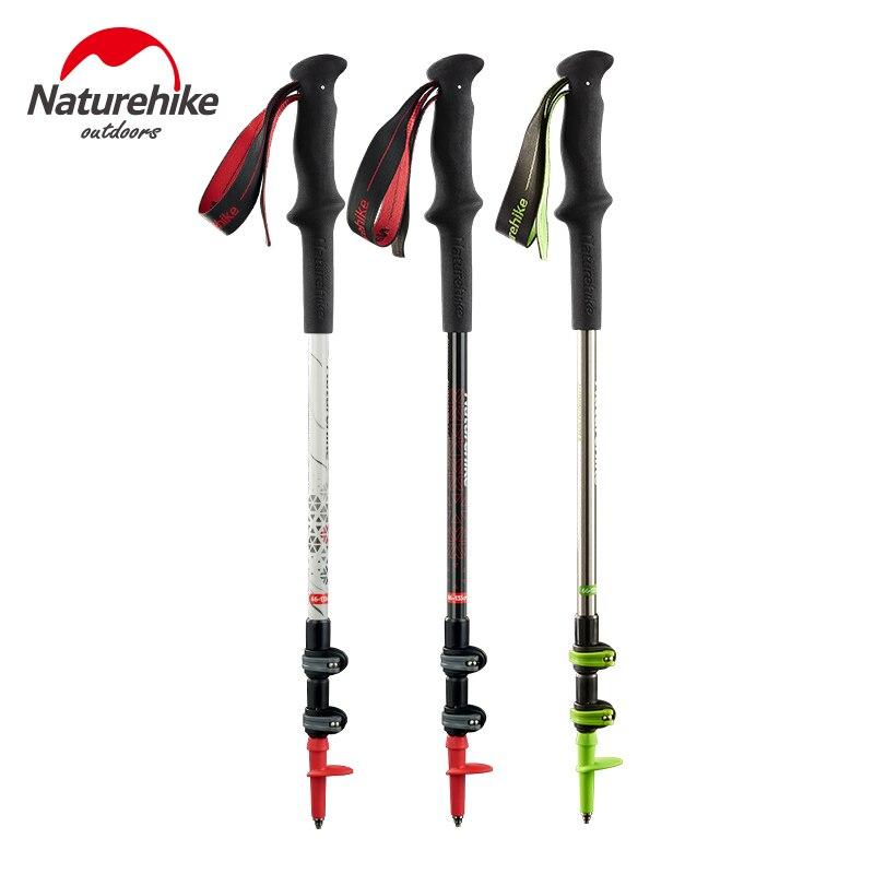 NatureHike NH17D006-D Ultralight Quick Lock Trekking Poles Hiking Pole Walking Running Stick Aluminium Alloy high quality 3 section straight grip aluminium alloy hiking walking stick