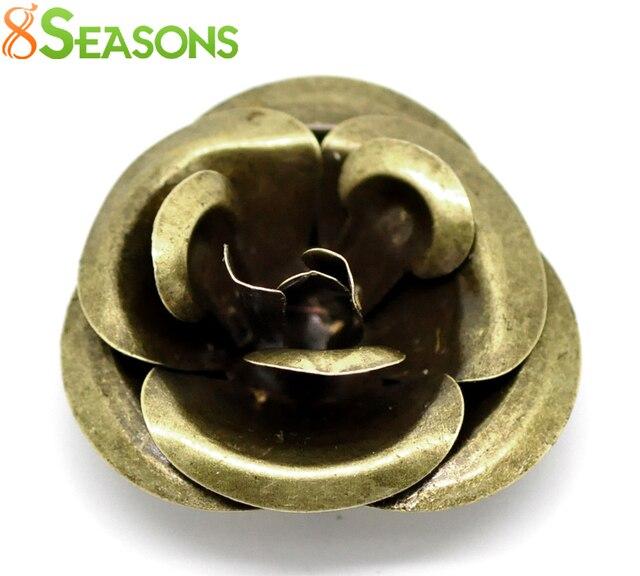 "8SEASONS 10PCs Antique Bronze Filigree Rose Flower Embellishments Findings 4x4cm(1-5/8""x1-5/8"")  (B18555)"