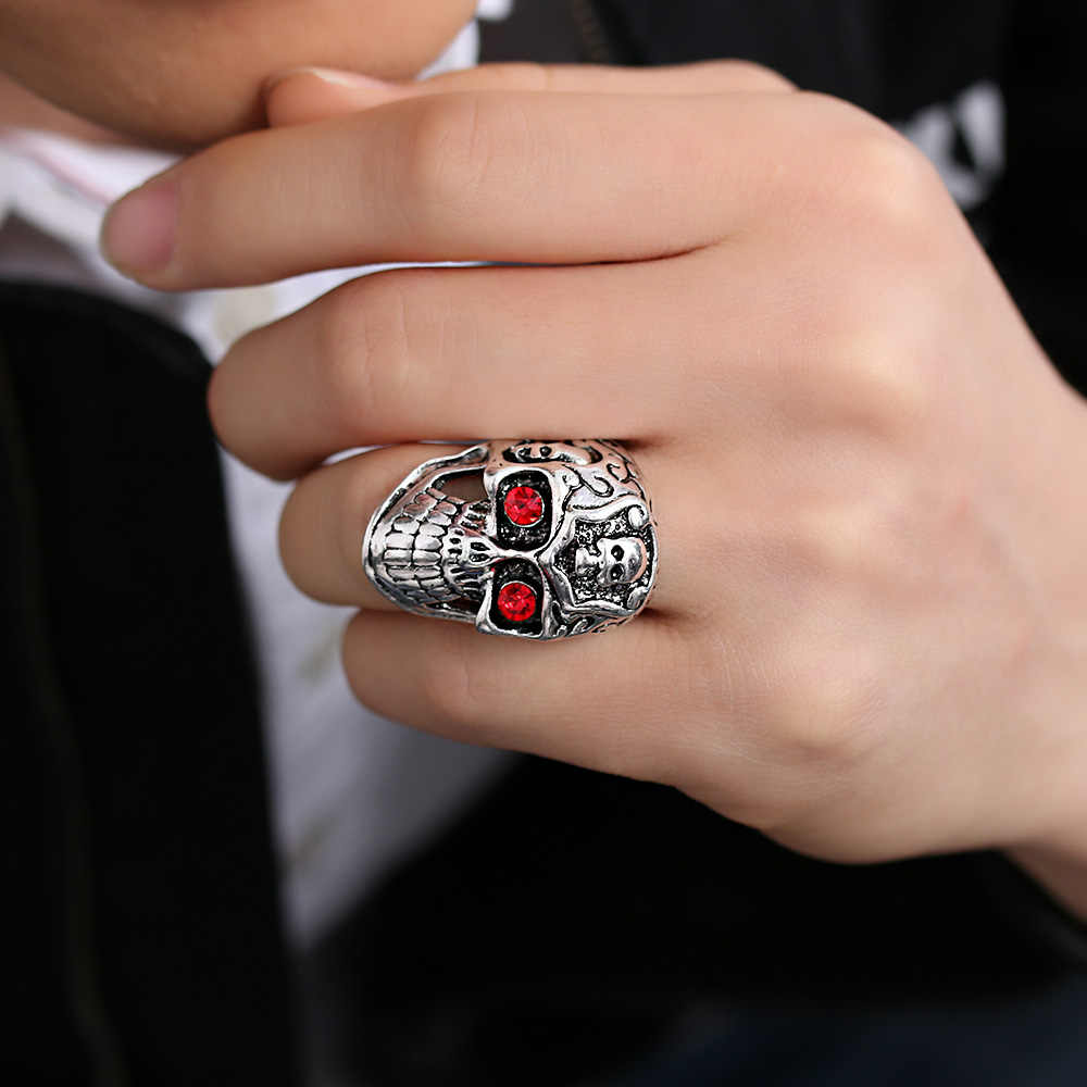 Gothic ROCK สแตนเลสสตีลแหวนโบราณเงิน Totem แกะสลัก Punk Skull HEAD & SNAKE & แกะหัวซาตานแพะแหวนผู้ชายเครื่องประดับ