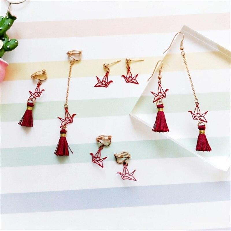Japanese and Korean sweet wine red origami crane earrings Long paragraph tassel earrings Fashion asymmetric earrings Ear clips