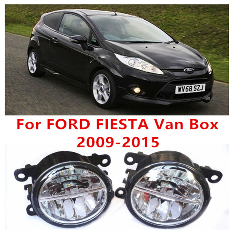For FORD FIESTA Van Box  2009-2015  10W Fog Light LED DRL Daytime Running Lights Car Styling lamps for ford fiesta van box 2009 2015 fog lamps led car styling 10w yellow white 2016 new lights