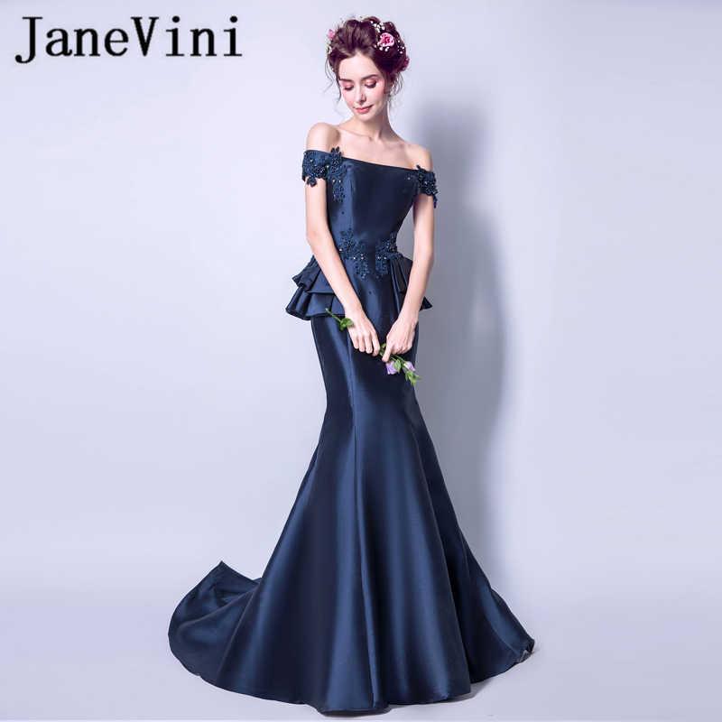 JaneVini Vestidos elegancki granatowy koraliki sukienki dla matki panny młodej syrenka Ruffles koronkowa aplikacja Satin Sweep pociąg Vestido Noite