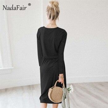 Nadafair o neck long sleeve casual midi dress women lace-up elastic waist solid spring autumn dress female shirt dress vestidos