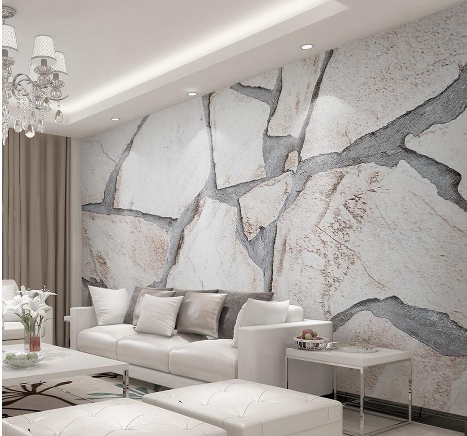 3d wallpaper for room Modern minimalist marble plain