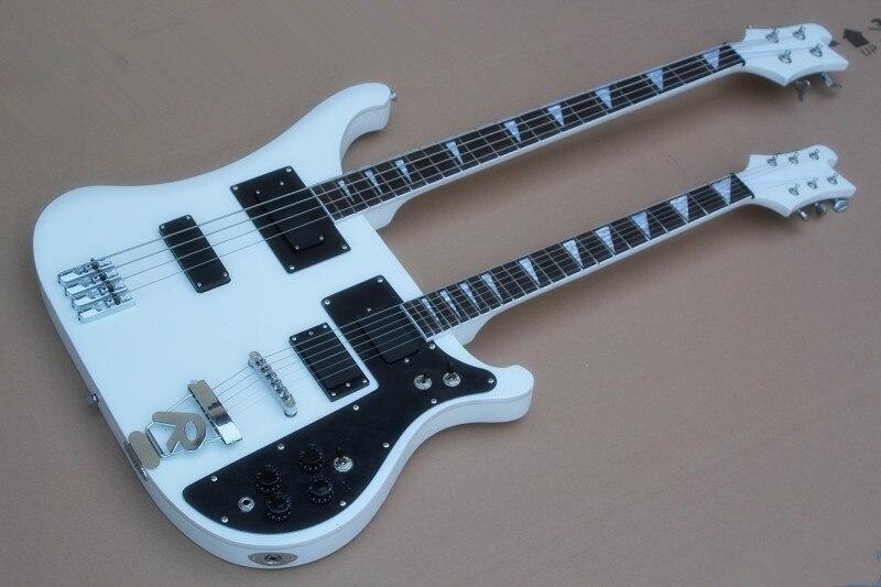 Top qualité Double cou guitare basse électrique, 4 cordes basse et 6 cordes guitare électrique blanche livraison gratuite-15-625