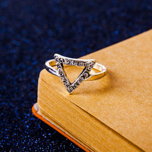Fashion Triangle Rings Star Moon Rings Pentagram Ring For Women Wholesale Jewelry Wedding Party Gift(China)
