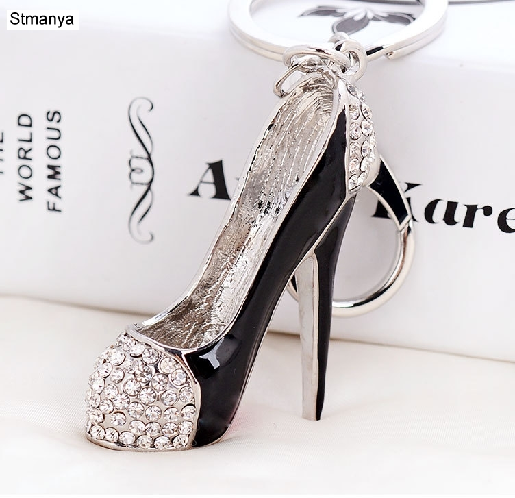 Shoe Metal keychain-Fashion Crystal Custom Simulation Heeled Ballet Shoes Metal keychain Cute Gift KeyRing #17183  - buy with discount