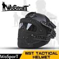 Wosport new tactical capacete bj pj mh abs máscara com óculos de proteção para airsoft militar do exército paintball wargame motocicleta ciclismo caça