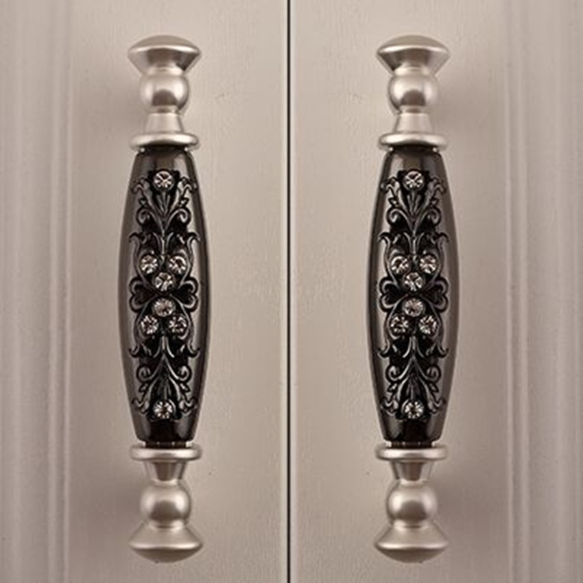 silver dresser pulls knobs black drawer cabinet handles knobs 96mm fashion deluxe modern glass diamond furniture hardware handle css clear crystal glass cabinet drawer door knobs handles 30mm