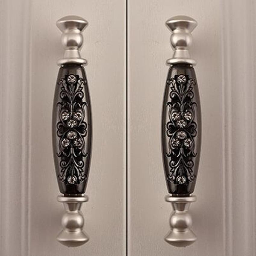 Silver Dresser Pulls Knobs Black Drawer Cabinet Handles Knobs 96mm Fashion  Deluxe Modern Glass Diamond Furniture