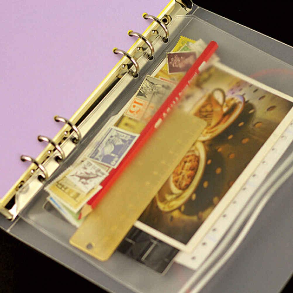 A5 a6 a7 pvc防水システム手帳ジッパーバッグ簡潔なプランナースパイラル収納カードバッグファイリング製品オフィス学校文具