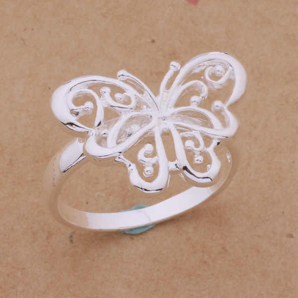 2016 New Fashion Jewelry Silver Hollow Butterfly Ring For Women Loving Gift AR215