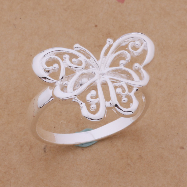 2016 New Fashion Jewelry Silver Hollow Butterfly Ring For Women Loving Gift AR215 mariposa en plata anillo