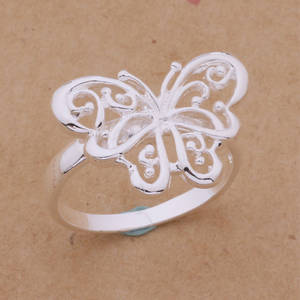 VASHIRIA Jewelry Silver Butterfly Ring For Women Loving