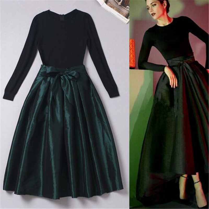 Vintage Lange Tutu Groene Midi Jurken Dames Mouw Winter Fall Mode QtsdhrC