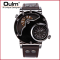 Top Brand Luxury OULM 9591 Men Watches Stainless Steel Big Face Dual Time Leather Quartz-watch Men's Watches