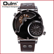 Top Brand Luxury OULM 9591 Men Watches Stainless Steel Case Dual Time PU Leather Quartz watch