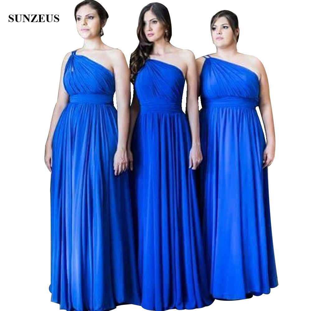 Elegant A-line One Shoulder   Bridesmaid     Dresses   Royal Blue Chiffon Wedding Party Gowns With Pleats vestido de festa BDS022