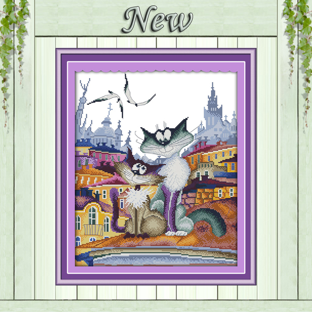 A gorgeous city cat,11CT Pattern on the canvas DMC 14CT Cross Stitch kits,needlework embroidery for Sets,DIY Crafts Home Decor
