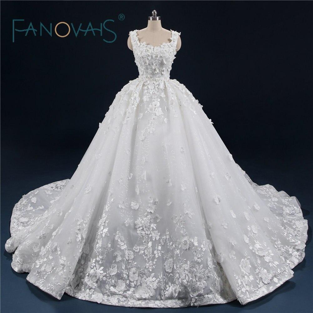 Роскошные Свадебные и Бальные платья 2018 Винтаж Кружева Свадебные платья цветами Vestido De Novia Robe De Mariage с длинным шлейфом