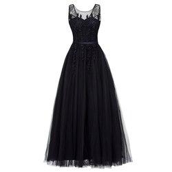 Черное вечернее платье Dressv, с треугольным вырезом, большого размера, элегантное бальное платье без рукавов, с бусинами, для свадебной вечери...