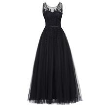 Dressv czarny v neck plus rozmiar suknia wieczorowa elegancka suknia balowa bez rękawów frezowanie ślubna formalna sukienka na przyjęcie wieczorowe tanie tanio Suknie wieczorowe Formalna wieczór Scoop NONE Poliester Aplikacje Długość podłogi Tulle Naturalne 300533 simple Gray