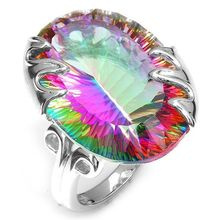 Rainbow Stone Ring Wedding Rings for Men Women Large Colorful New Jewelry Blue Pink Purple Cubic Zirconia Silver