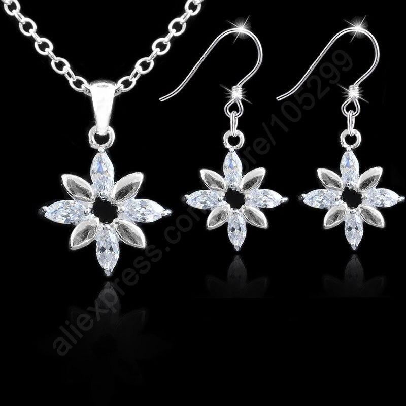 Wedding Gift Flower Shape 925 Sterling Silver Necklace +Earring Jewelry Wife/Girlfriend