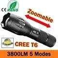 LED Flashlight 3800 Lumnes CREE XM-L T6 LED Tactical Flashlight Torch 5Mode Zoomable Flashlight Waterproof Torch Light lanternas