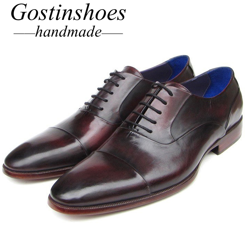 GOSTINSHOES HANDMADE Formal Shoes Cow Leather Cap Toe Cow Leather Painted Lace-Up Oxford Shoes For Men Goodyear Welted SCT21GOSTINSHOES HANDMADE Formal Shoes Cow Leather Cap Toe Cow Leather Painted Lace-Up Oxford Shoes For Men Goodyear Welted SCT21