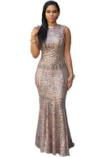 hot selling Cute Sexy Cocktail Summer celeb style dress Elegant classic beauty long Blush Sequins Keyhole Back Party Gown 60881
