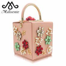 50f26731ddb10 Milisente حقيبة يد فاخرة النساء حقائب جلدية مصمم مربع رائعة الماس حقيبة  صغيرة ل الزفاف مأدبة