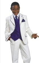 Customized Boy Suits Set Camicia Ragazzo Cerimonia Party Kids Clothes White Tuxedo Kids(Jacket+Pants+vest+ tie) Z789B302